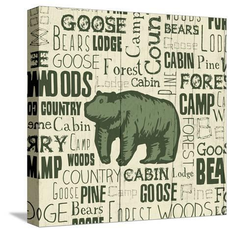 Bear Typography-Jace Grey-Stretched Canvas Print