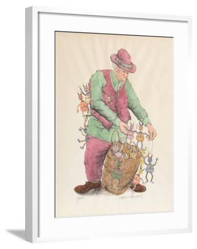 The Puppet Vendor (color)-Seymour Rosenthal-Framed Art Print