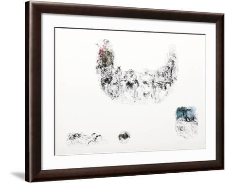 Horses - Variation 4 (Pink, Beige and Blue)-Lebadang-Framed Art Print