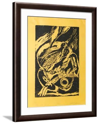 Boy with Bird (black)-Roberto Juarez-Framed Art Print