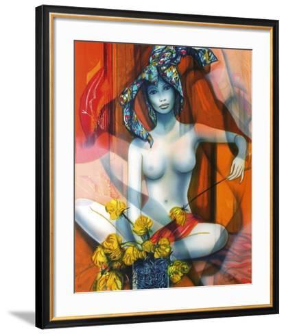 Nu ? la rose jaune-Jean-Baptiste Valadie-Framed Art Print