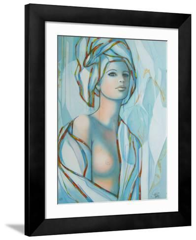 Le turban bleu-Jean-Baptiste Valadie-Framed Art Print