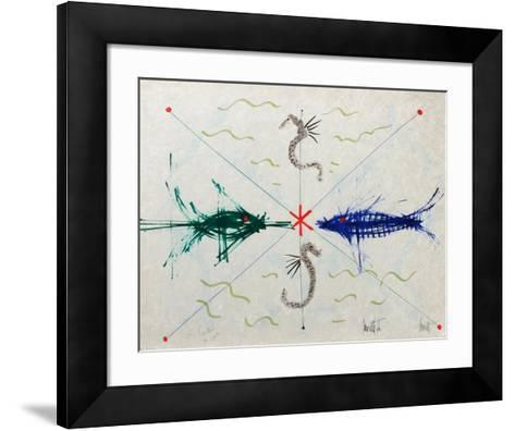 L'?ge du verseau : poissons et hyppo-Jean Cocteau-Framed Art Print