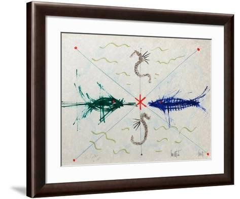 L'âge du verseau : poissons et hyppo-Jean Cocteau-Framed Art Print