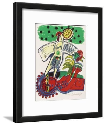 Femmes et oiseaux 1-Guillaume Corneille-Framed Art Print