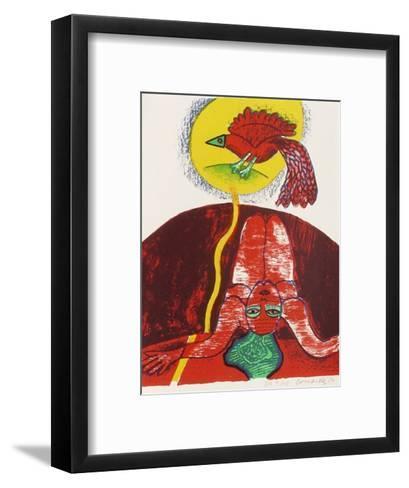 Femmes et oiseaux 3-Guillaume Corneille-Framed Art Print