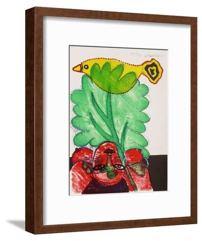 Femmes et oiseaux 6-Guillaume Corneille-Framed Art Print