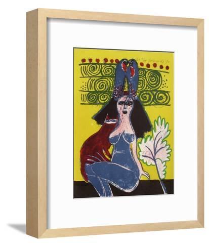 Femmes et oiseaux 7-Guillaume Corneille-Framed Art Print