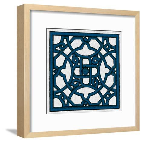 Navy Woodcut H4-Tina Carlson-Framed Art Print