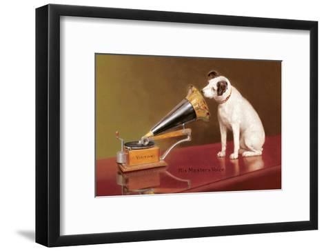 His Master's Voice Ad--Framed Art Print