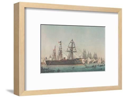 Le Ministre de la Marine Passe en Revue l'Escadre d'Évolutions, 1864--Framed Art Print