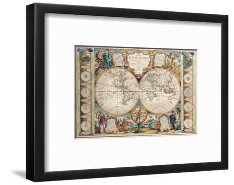 Antique Map, Mappe Monde, 1755-Jean-baptiste Nolin-Framed Art Print