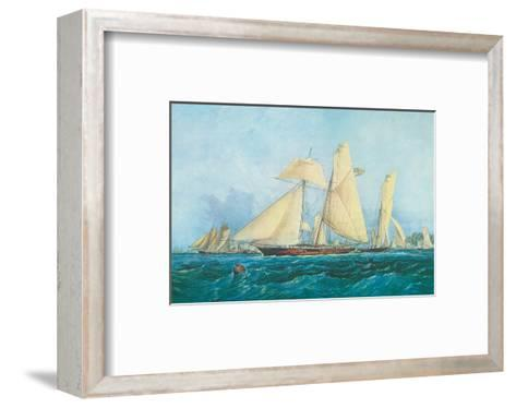 Yachting, Scene off Cowes Isle of Wight-Thomas Sewell Robins-Framed Art Print
