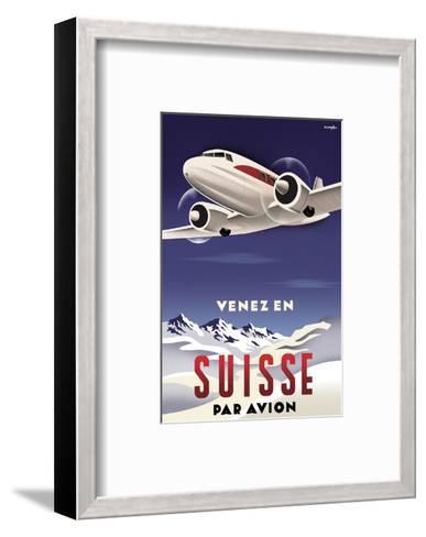 Venez en Suisse par Avion-Michael Crampton-Framed Art Print