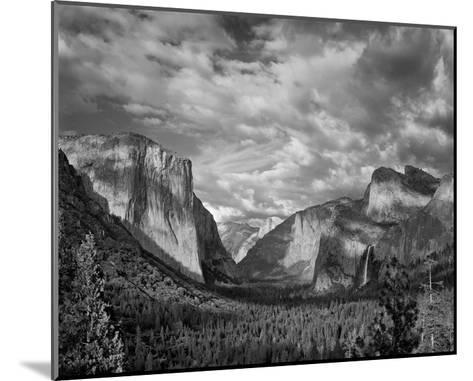 Yosemite Tunnel View Black and White I-Danny Burk-Mounted Art Print