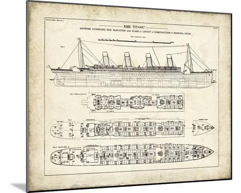 Titanic Blueprint Vintage I-The Vintage Collection-Mounted Giclee Print