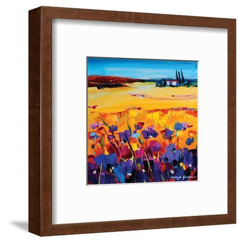 Quiet of the Pasture-Maya Green-Framed Art Print
