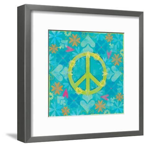 Peace Sign Floral Hearts I-Alan Hopfensperger-Framed Art Print