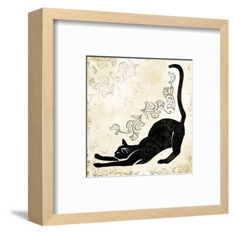 Stretching Burlap Cat-Alan Hopfensperger-Framed Art Print