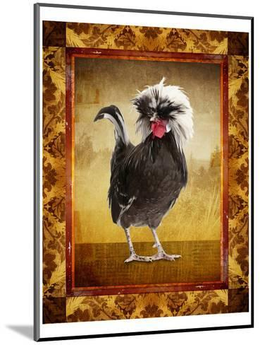 Grey Rooster--Mounted Art Print