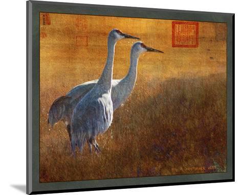 Walking Cranes-Chris Vest-Mounted Art Print