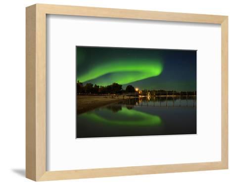 Northern Lights Reflected in Lake Winnipeg II-Mike Grandmaison-Framed Art Print