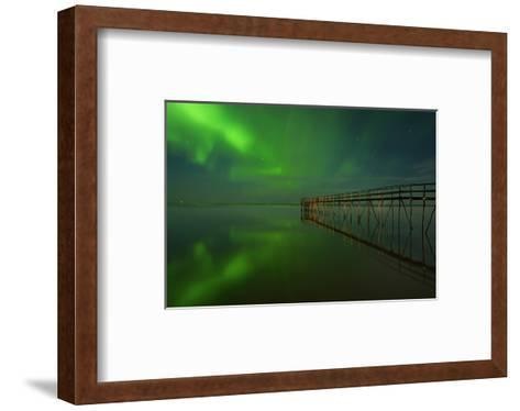 Northern Lights Reflected in Lake Winnipeg IV-Mike Grandmaison-Framed Art Print