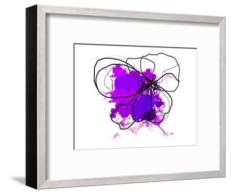 Purple Abstract Brush Splash Flower-Irena Orlov-Framed Art Print