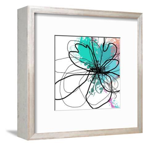 Blue Abstract Brush Splash Flower-Irena Orlov-Framed Art Print