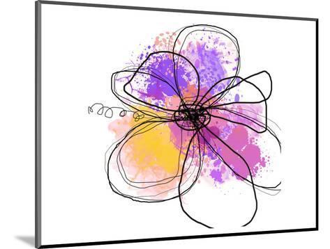 Rose Yellow Abstract Brush Splash Flower I-Irena Orlov-Mounted Art Print