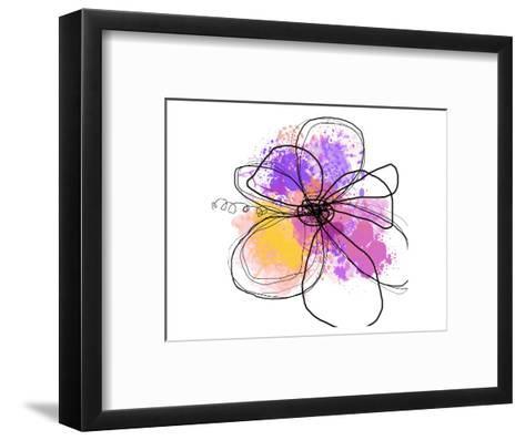 Rose Yellow Abstract Brush Splash Flower I-Irena Orlov-Framed Art Print