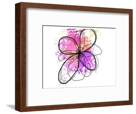 Rose Yellow Abstract Brush Splash Flower II-Irena Orlov-Framed Art Print