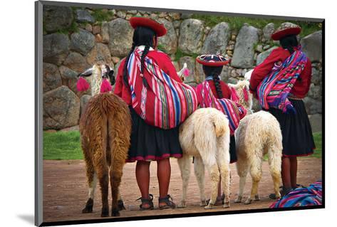 Peruvian Indios with Lamas--Mounted Art Print