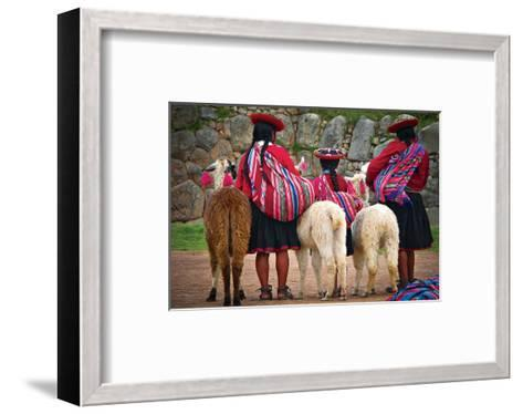 Peruvian Indios with Lamas--Framed Art Print