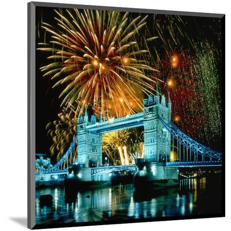 Fireworks above Tower Bridge, London, South England, Great Britain hph15--Mounted Art Print