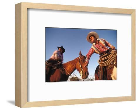 Ranchers with their horses, Horseshoe Working Ranch, Arizona, USA--Framed Art Print