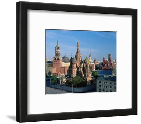 Saint Basil's Cathedral and Spassky Tower, Red Square, Moscow, Russia--Framed Art Print