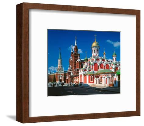 Orthodox Church with State Historical Museum and Kremlin Tower on Red Square, Moscow, Russia--Framed Art Print