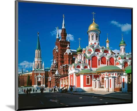 Orthodox Church with State Historical Museum and Kremlin Tower on Red Square, Moscow, Russia--Mounted Art Print
