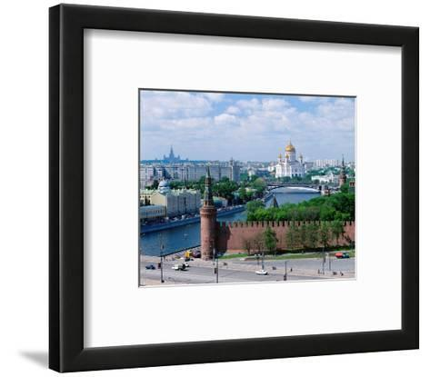 Cathedral of Christ the Saviour and Kremlin Wall, Moscow, Russia--Framed Art Print