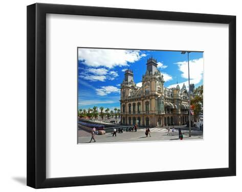 Placa del Portal de la Pau near the harbour, Barcelona, Catalonia, Spain--Framed Art Print