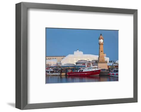 Clock tower in the harbour of Barcelona, Catalonia, Spain--Framed Art Print
