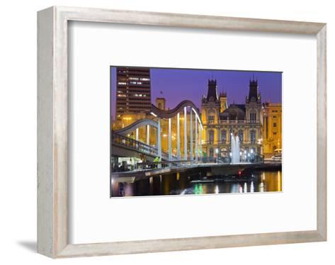 Rambla de Mar bridge in the harbour, Barcelona, Catalonia, Spain--Framed Art Print