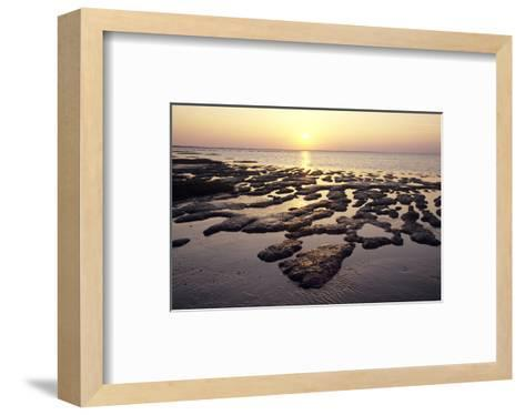 Sunset over the tideland, Sylt, Schleswig-Holstein, Germany--Framed Art Print