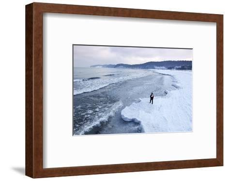 Ice Floes on the Beach, Baltic Sea Resort of Ahlbeck, Usedom, Germany--Framed Art Print