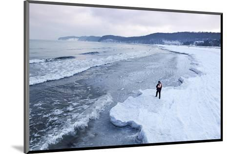 Ice Floes on the Beach, Baltic Sea Resort of Ahlbeck, Usedom, Germany--Mounted Art Print