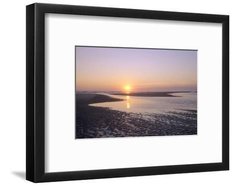 Sunrise on the beach, Langeoog, East Frisian Islands, Lower Saxony, Germany--Framed Art Print