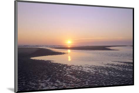Sunrise on the beach, Langeoog, East Frisian Islands, Lower Saxony, Germany--Mounted Art Print