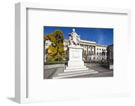 Monument of Wilhelm von Humboldt in front of Humboldt University, Unter den Linden, Berlin, Germany--Framed Art Print