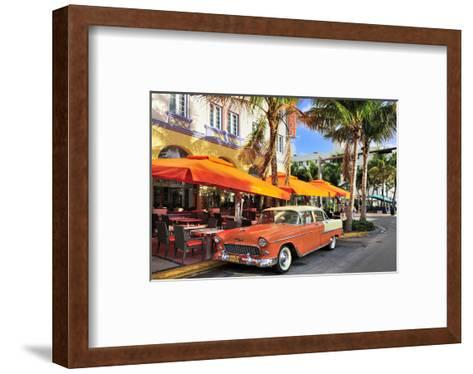 Classic Car in front of the Paparazzi Restaurant, Ocean Drive--Framed Art Print